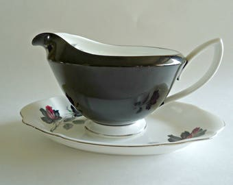 Royal Albert Gravy Boat with Under Plate Masquerade  Black Rose