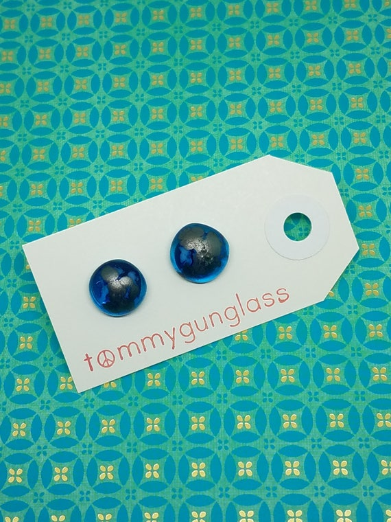 Speckled Turquoise and Silver Glass Stud Earrings