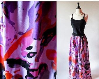 1/2 Off SALE 60s Purple Maxi Skirt,1960s Long Purple Hippie Skirt, 1960 Print Skirt