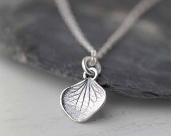 Tiny Petal Necklace   Sterling Silver Necklace   Silver Necklaces for Women   Gift for Women   Gift for Her   Handmade Jewelry by Burnish