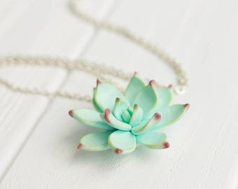 Light Blue Succulent Pendant Necklace Polymer Plant Succulent Medallion Wedding Bridal Gift