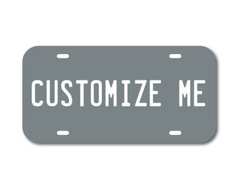 Plastic License Plate Custom Grey Gray Car Tag Custom Personalized Vehicle Business Logo Monogram