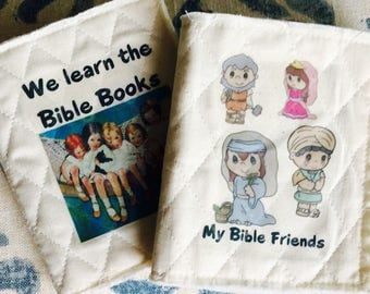 My Bible Friends or We Learn the Bible Books Soft Quiet Book for infants. Personalized with their name. Super soft quilted cotton fabric.