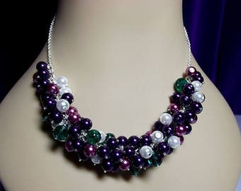 30% OFF SALE thru Mon Purple Lilac Green White Pearl Cluster Necklace, Christmas Gift, ONLY One, Mom Sister Grandmother Jewelry, Bridesmaid