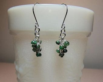 30% OFF SALE thru Sun Tiny Emerald Cluster Drop Earrings, St Patrick Valentines Mothers Day Gift, Mom Sister Bridesmaid Jewelry, Gemstone Bi