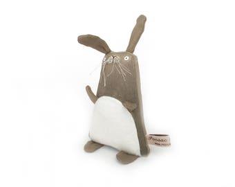 Toy Bunny Rabbit, Bunny Rabbit Softie, Bunny Plushie, Handmade Toy Bunny, Small Brown Bunny Art Doll, Kids Birthday Gift, Plush Toy Bunny