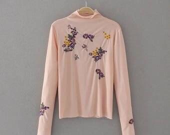 Vintage Embroidered Blouse, Ballerina blouse, long sleeve blouse, floral Blouse, hippie blouse, folk blouse, romantic blouse, embroidery top