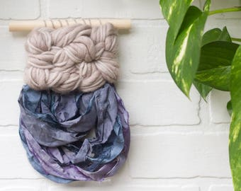 Mini Woven Wall Hanging   Modern Weaving with Wool and Recycled Sari Silk Yarn