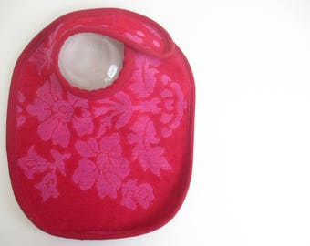 EcoBib--Adjustable Snap Closure--Vintage Ruby Red and Fushia Design--Ready to Ship