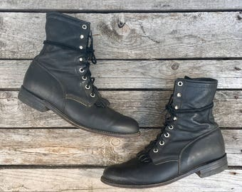 8.5 B   Women's Lace Up Black Justin Roper Boots Western Lacers