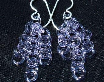 Purple/Blue Glass Chain Earrings