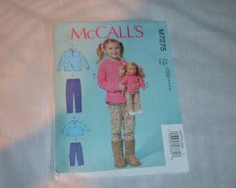 "McCall's Pattern #M7275 for Girls' and 18"" Doll Tops & Pants-Uncut-(2-3-4-5)"