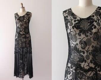 vintage 1920s dress // 20s black net dress