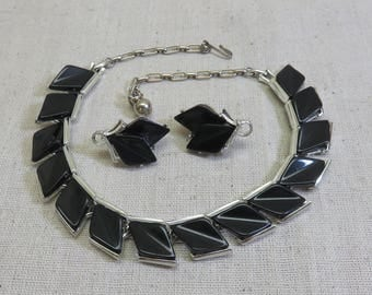 1960's Black Thermoset Plastic and Silvery Metal Necklace, 17 Inches, Matching Earrings