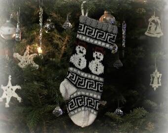 Small Christmas Stocking, Snowman Christmas Sock, Fair Isle knit, Snowman Santa Sock, Christmas Stocking, White Christmas Decor, SGBWR