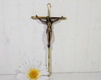 Brass Wall Crucifix Vintage Christian Religious Cross for Decor - Christian / Catholic / Faith Religious Gift - Mid Century Design Wall Art