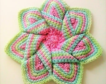 Mid-Century Retro Star Flower Potholder - Pink, Light Blue, and Mint Green - 100% Cotton, Eco-friendly, Re-usable, Reversible