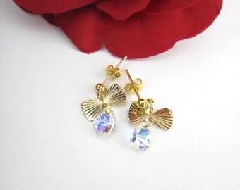Crystal dangle earrings, Stud dangle earrings, Flower girl Earrings, Wedding Jewelry Gift, Holiday Gift