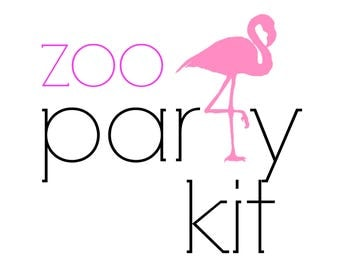 Zoo Birthday Party Kit!  Birthday Party in a Box! Flamingo party supplies