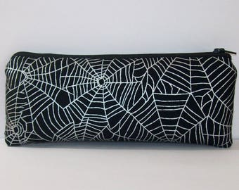 """Pipe Pouch, Spiderwebs Bag, Pipe Case, Glass Pipe Bag, Vape Pen Holder, Stoner, Goth, Cannabis, Padded Pipe Pouch, Zipper Pouch - 7.5"""" LARGE"""