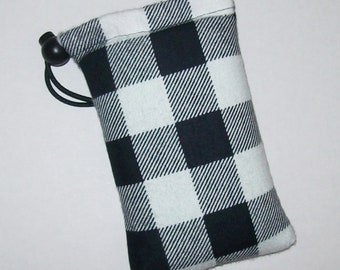 "Pipe Pouch, White Black Plaid, Pipe Bag, Pipe Case, Glass Pipes, Padded Pipe Pouch, 420, Grunge, Hipster Gifts, Stoner Gifts - 5"" DRAWSTRING"