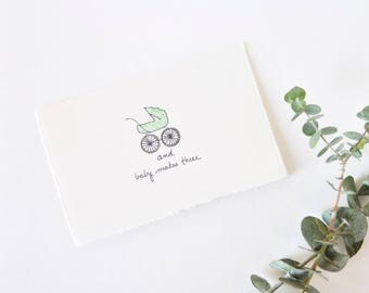 Cute Baby Shower Card - Congratulations Baby Carriage - Baby Makes Three