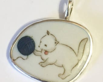 Broken China Jewelry, Pendant.sterling Silver  OOAK Kitty Cat With Blue Ball Of Yarn