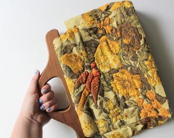 Vintage Quilted Tapestry Floral Bird Pattern Handbag With Wooden Handles 1970s
