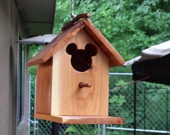 Mickey Mouse Rustic Cedar Birdhouse