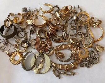 Gold Jewelry Lot | Gold Earring Lot | Vintage Jewelry Lot | Gold Costume Jewelry Lot | Single Earring Lot | Rustic Earrings | Gold Lot