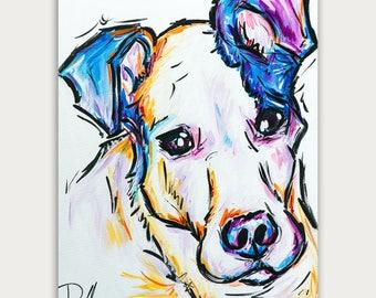 Custom Colorful  Dog Paintings, Colorful Art, Acrylic On canvas, Wall Decor, Home Decor
