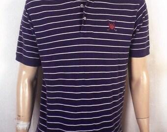 vtg 90s euc Polo Golf Ralph Lauren navy/white crest Polo Shirt ss SZ L