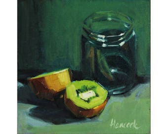 Glass Jar and Kiwis on Green, Kitchen Art with Kiwis