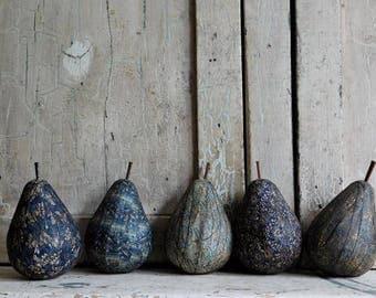 Blue Calico Folk Art Handmade Pear Bowl Fillers, Display Fruit, Farmhouse Decor