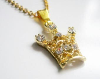 Rhinestone Gold Tone Crown Necklace, Crown Necklace, Crown, Gift for Her, Gift for Teens