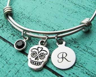 day of the dead jewelry, Halloween gift, sugar skull bracelet, Halloween jewelry, personalized Fall gift, stackable charm bracelet