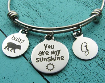 daughter gift, you are my sunshine bracelet, baby bear jewelry, new mom gift, Christmas gift for daughter, baby shower gift, adoption gift