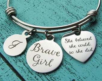 brave girl bracelet, addiction recovery gift, strong women, cancer awareness survivor jewelry, strength bracelet, na sobriety gift aa sober