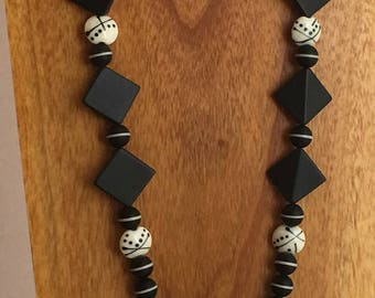 Long Necklace of Matte Black Onyx and Ivory Artisan Glass-Unique Luxury