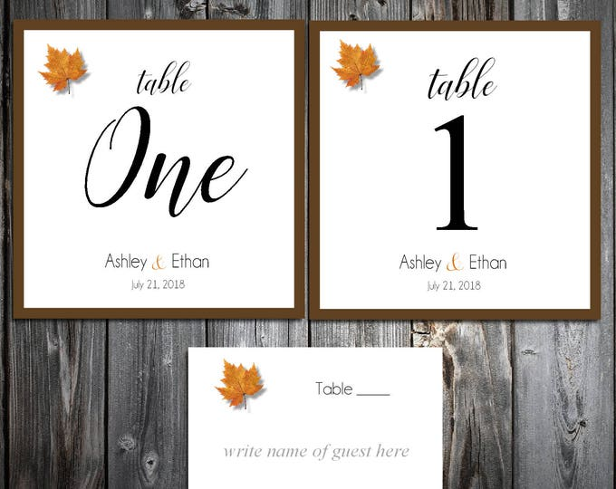 25 Fall Leaf Wedding Table Numbers and 250 place settings for reception tables - Fall In Love