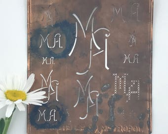 MA Large Vintage European Copper Monogram Dowry Stencil 9032