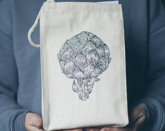 Artichoke Screen Printed Recycled Cotton Canvas Reusable Lunch Bag