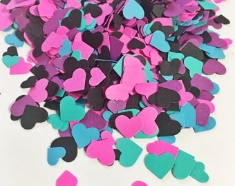 Adorable Heart Confetti in Black Purple Hot Pink Teal Green Aqua Blue over 1000 hearts Wedding Decor Table Decorations Tiny Hearts