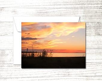 Sunset Photo Card | Coastal photo card | Greeting Card | Orange Sky | Fire Island | Blank Note Card