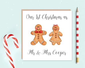 First Christmas as husband and wife card - our first Christmas card - our first Christmas - first Christmas as Mr & Mrs - personalised card