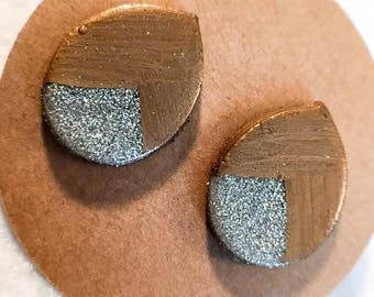 Silver Glitter Tear Drop Clay Stud Earrings