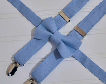Boys light blue linen bow tie and suspenders, Grey linen suspenders, many colors, Rustic Wedding ring bearer, Baptism