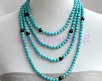 98 Inches Long Blue Turquoise Stone Beaded Natural Obsidian Necklace Turquoise Necklace Statement Necklace Sweater Necklace