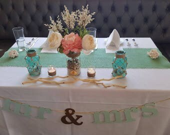 Mint Green Burlap Table Runner Wedding Decor Seafoam Runners Decorations Rustic Style