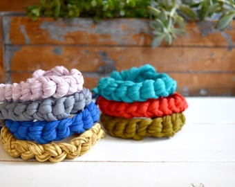 5 Matching Furiendship Bracelets  - Pick your own colors, crochet bracelet, gift for her, upcycled